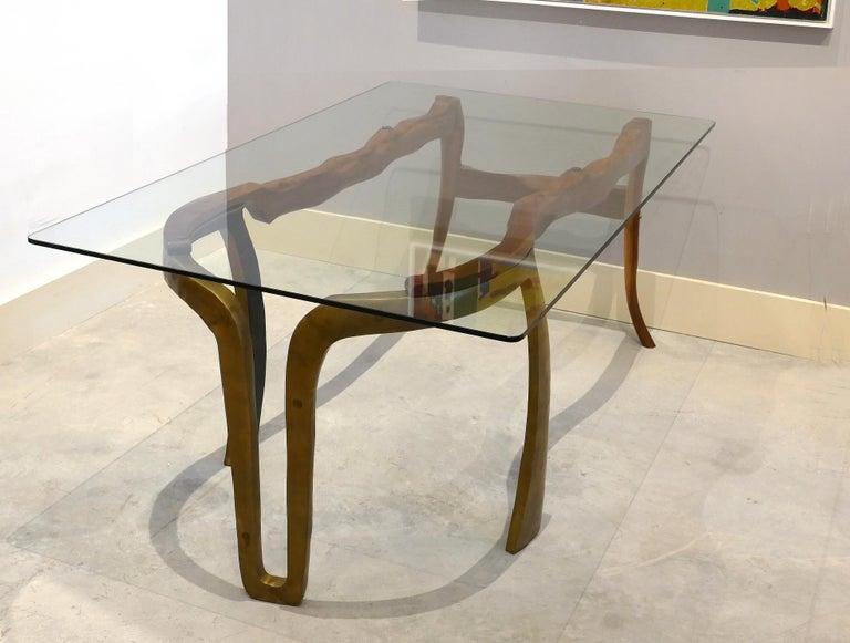 American Brutalist Studio Sculptural Bronze and Wood Desk or Table For Sale