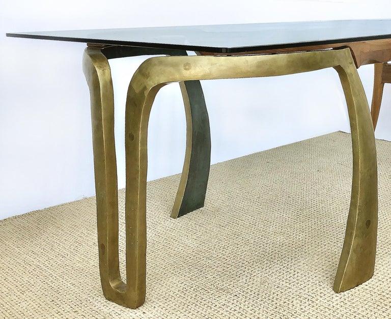 Hand-Carved Brutalist Studio Sculptural Bronze and Wood Desk or Table For Sale