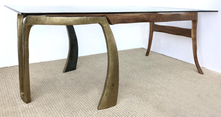 Brutalist Studio Sculptural Bronze and Wood Desk or Table In Good Condition For Sale In Miami, FL