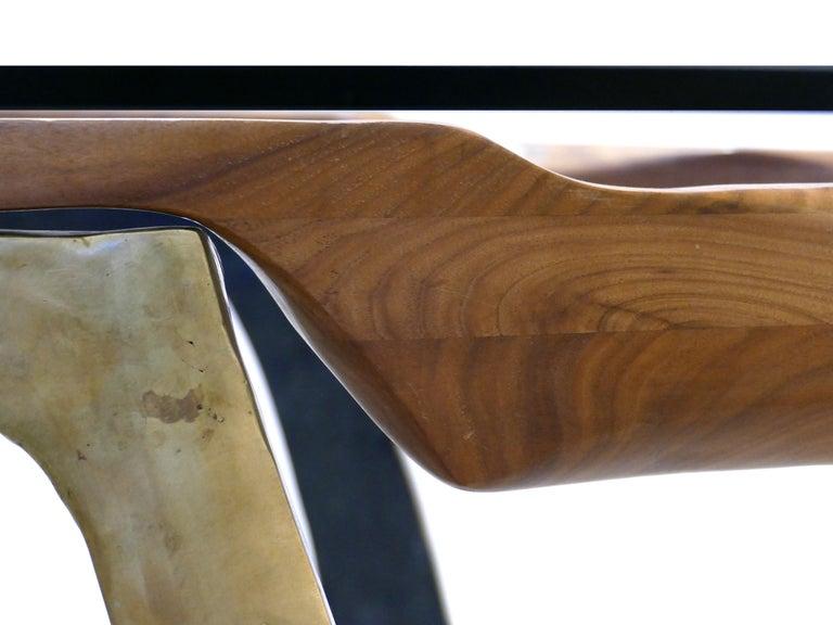 Brutalist Studio Sculptural Bronze and Wood Desk or Table For Sale 1