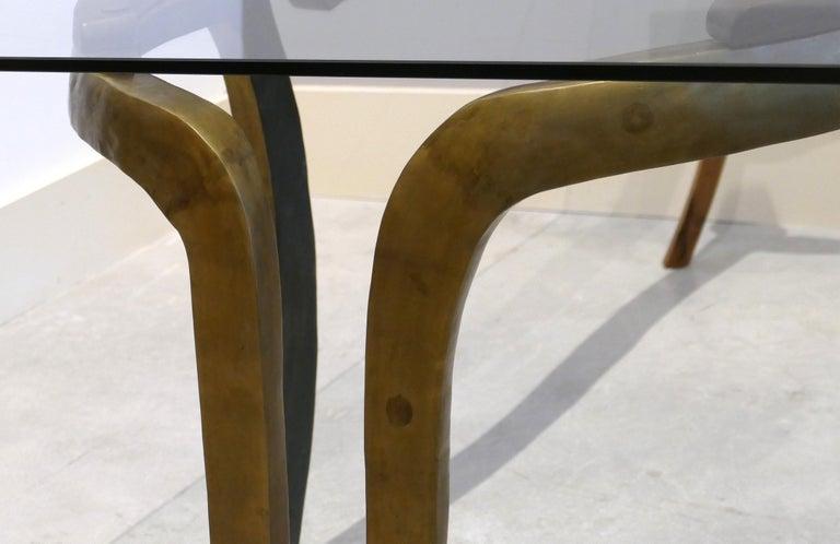 Brutalist Studio Sculptural Bronze and Wood Desk or Table For Sale 3