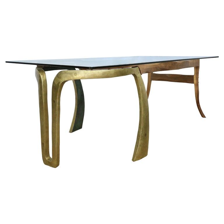 Brutalist Studio Sculptural Bronze and Wood Desk or Table For Sale