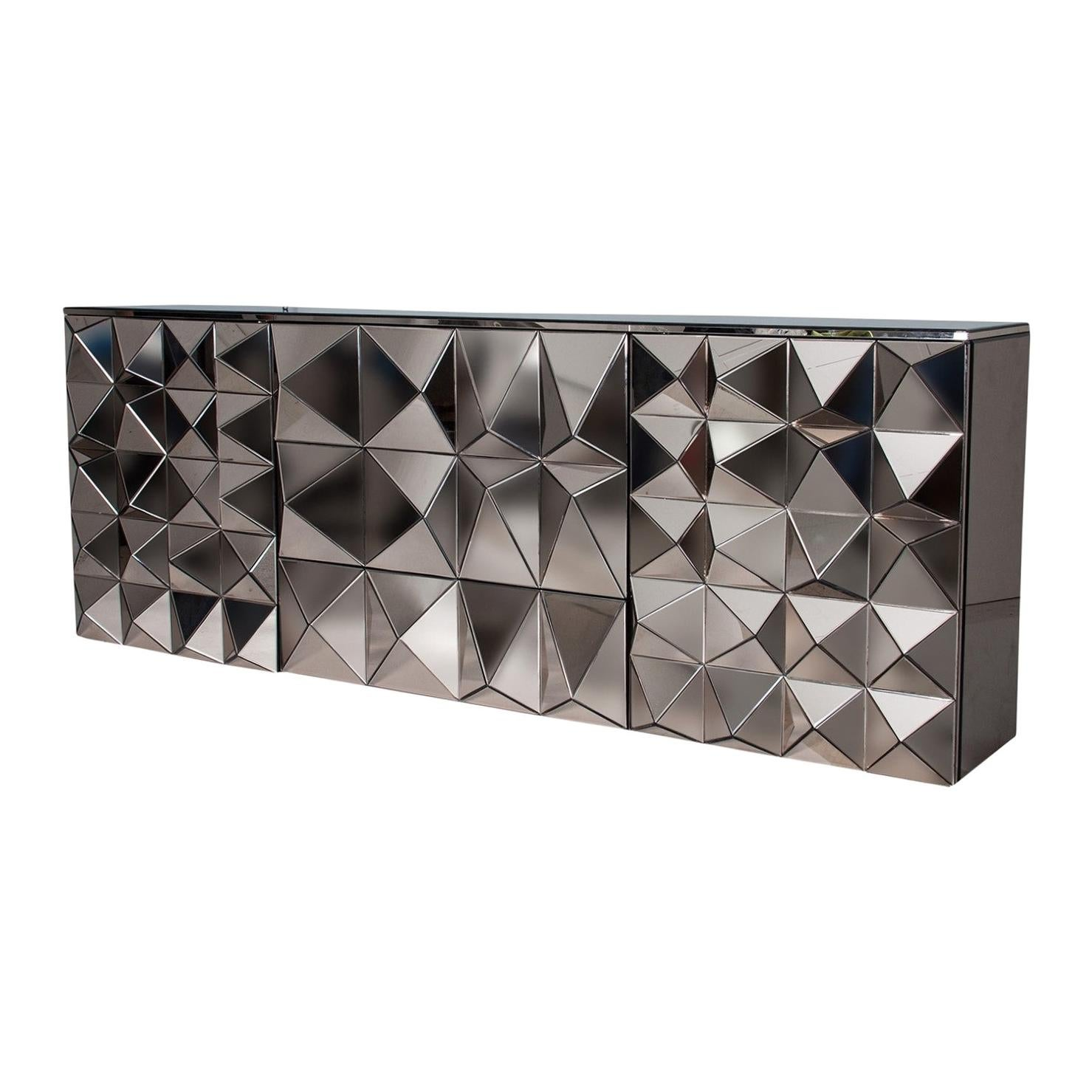 Brutalist Style And Bevelled Mirrored Design Sideboard