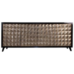 Brutalist Style and Design Gold and Black Wooden Sideboard