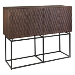 Brutalist Style and Dutch MCM Design Wooden and Black Metal Sideboard