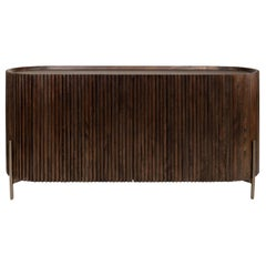 Brutalist Style and MCM Design Wooden and Brushed Brass Oval Shaped Sideboard