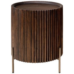 Brutalist Style and MCM Design Wooden and Brushed Brass Rounded Bedside Table