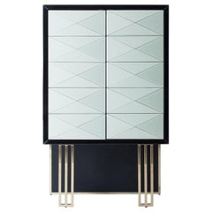 Brutalist Style Black Lacquered Wooden and Mirrored Dry Bar Cabinet
