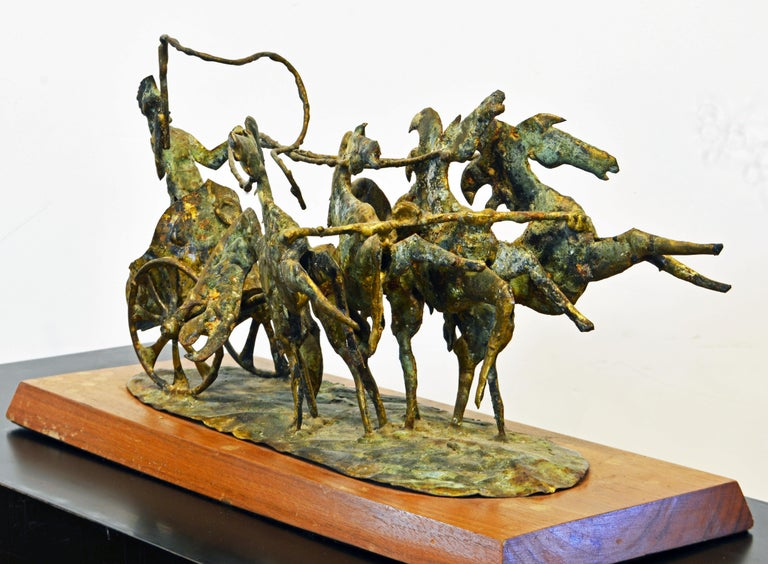 Patinated Brutalist Style Bronze Group of a Roman Charioteer by Bill Lett American 20th C. For Sale