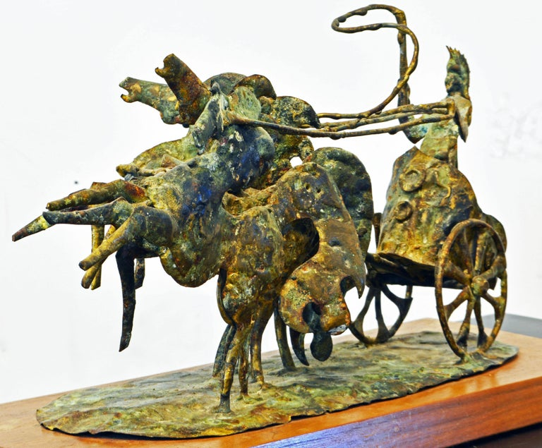 20th Century Brutalist Style Bronze Group of a Roman Charioteer by Bill Lett American 20th C. For Sale