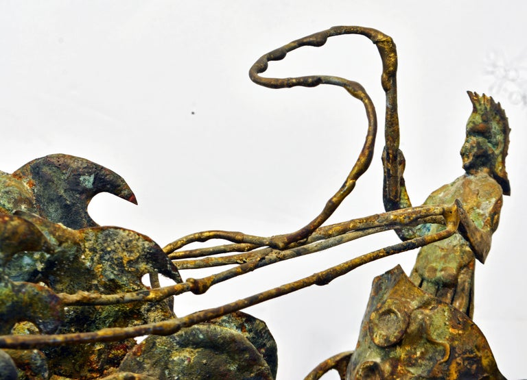 Brutalist Style Bronze Group of a Roman Charioteer by Bill Lett American 20th C. For Sale 1