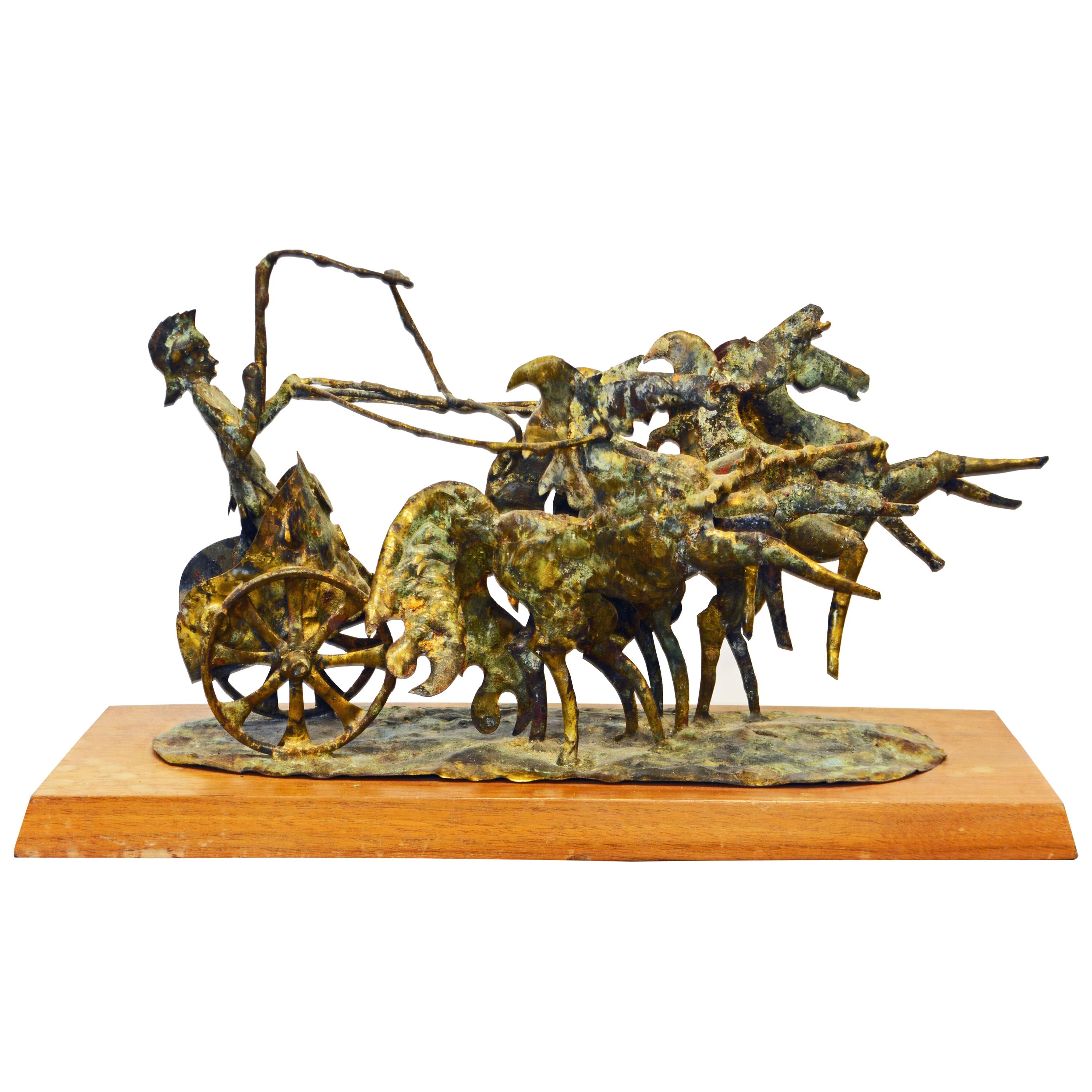 Brutalist Style Bronze Group of a Roman Charioteer by Bill Lett American 20th C.