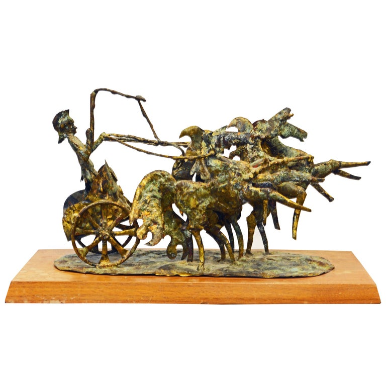 Brutalist Style Bronze Group of a Roman Charioteer by Bill Lett American 20th C. For Sale