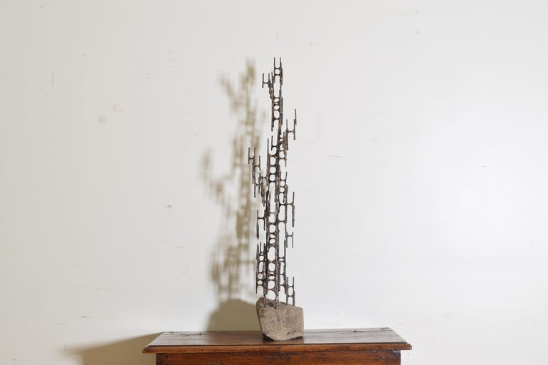 Late 20th Century Brutalist Style Bronze Sculpture, Signed P. Marshall For Sale