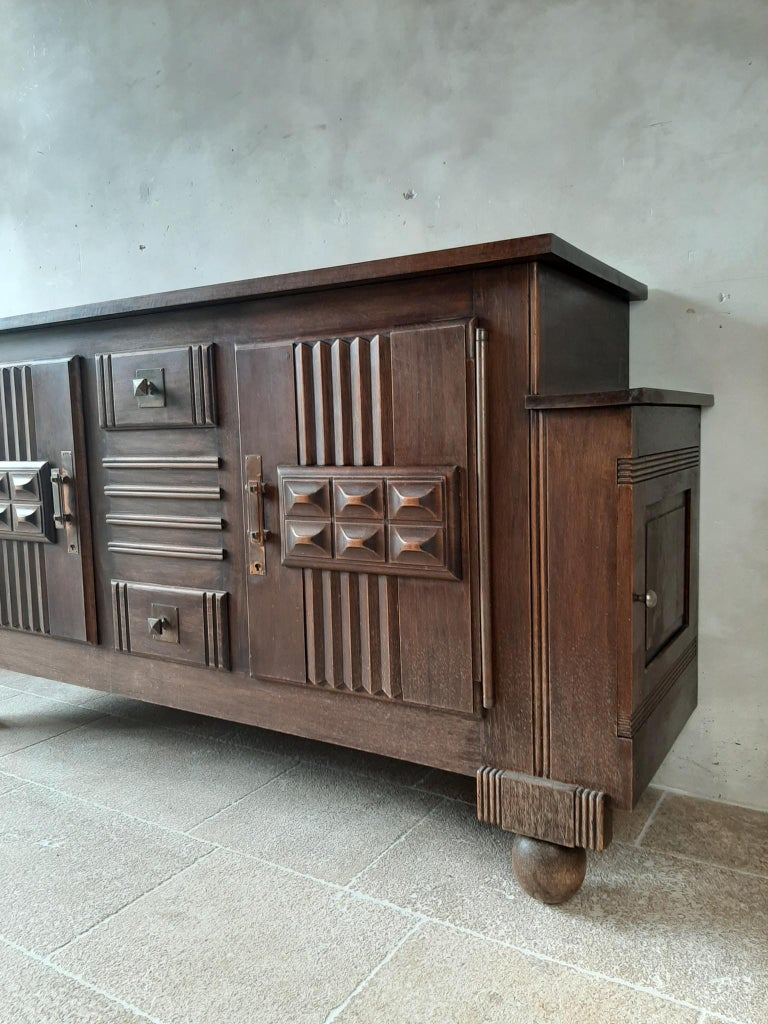 French Brutalist style Brown Oak Sideboard, Credenza by Charles Dudouyt For Sale