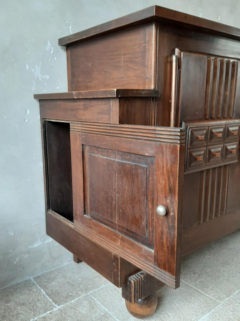 Mid-20th Century Brutalist style Brown Oak Sideboard, Credenza by Charles Dudouyt For Sale