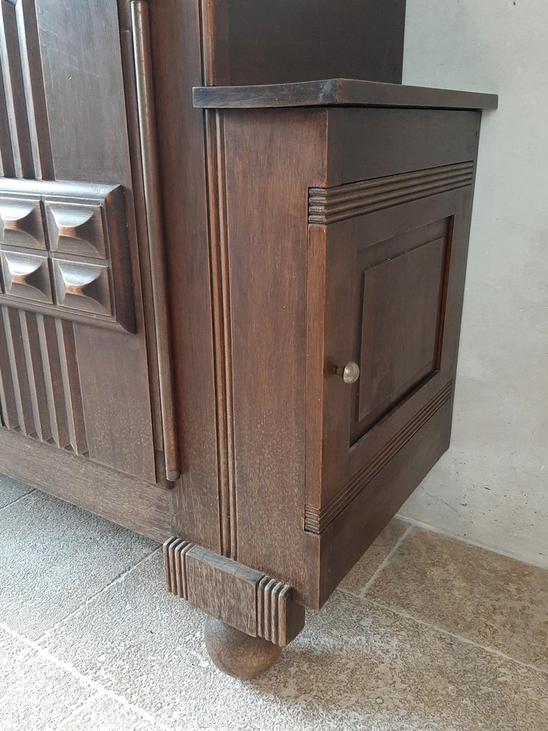 Brutalist style Brown Oak Sideboard, Credenza by Charles Dudouyt For Sale 1