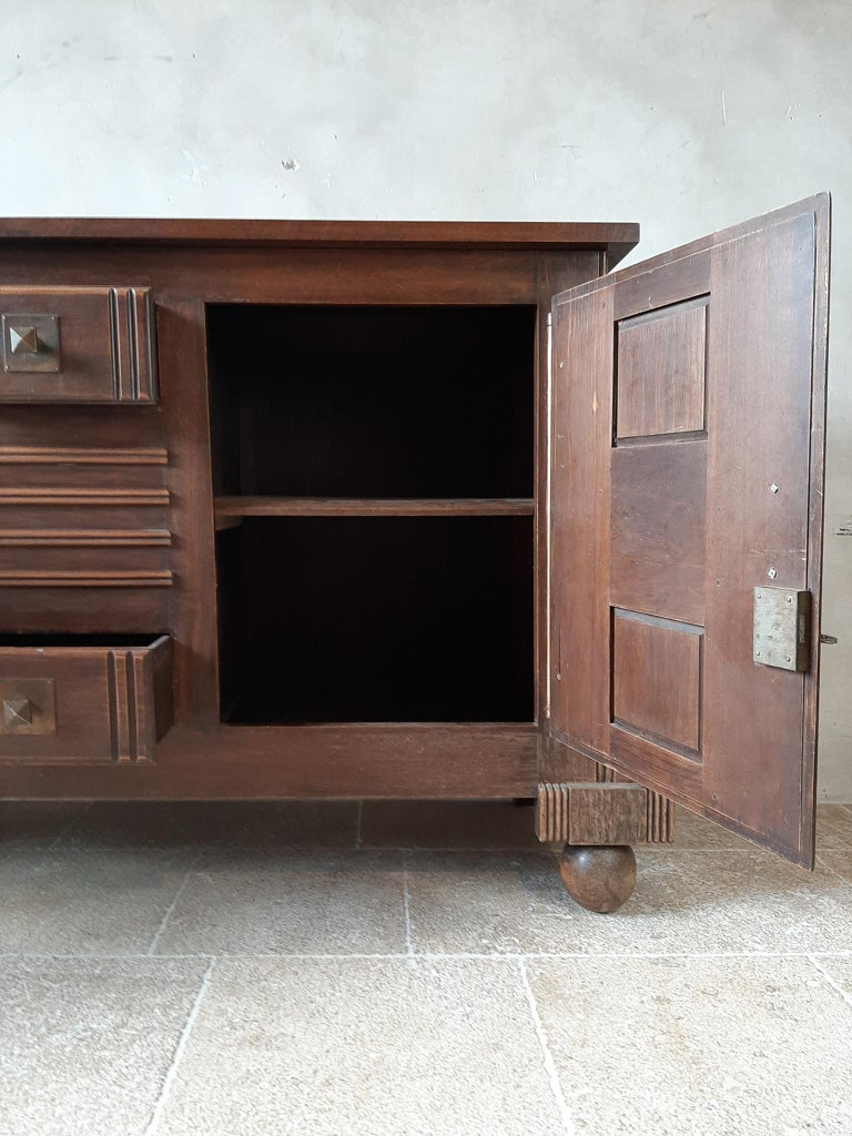 Brutalist style Brown Oak Sideboard, Credenza by Charles Dudouyt For Sale 3