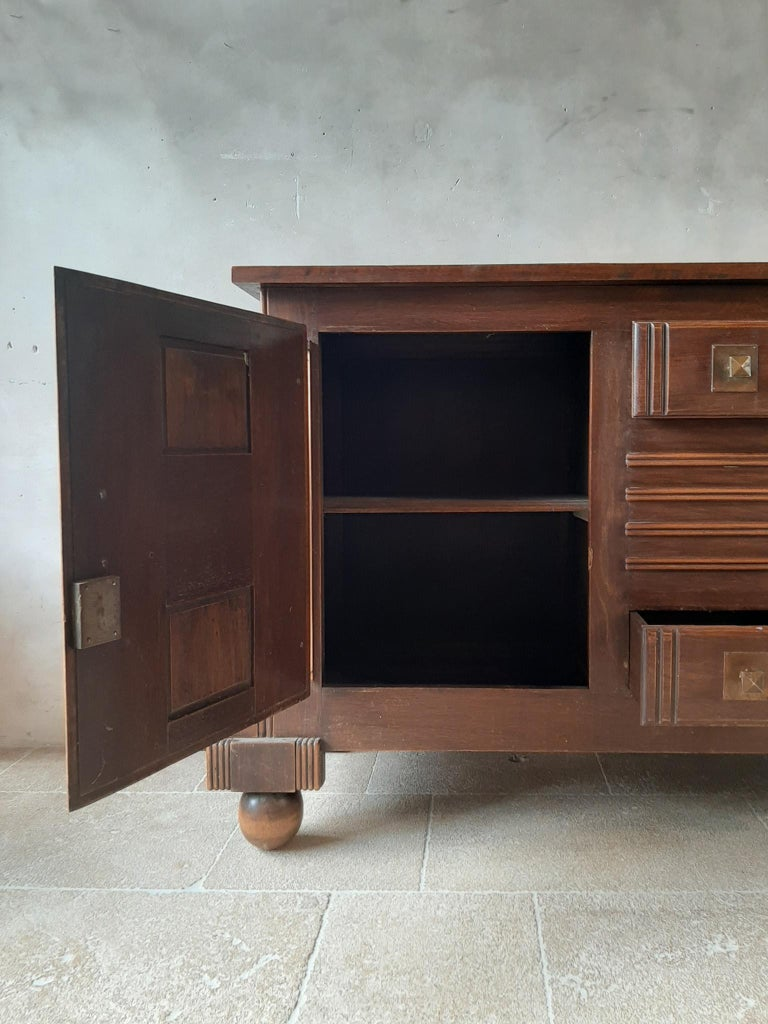 Brutalist style Brown Oak Sideboard, Credenza by Charles Dudouyt For Sale 4