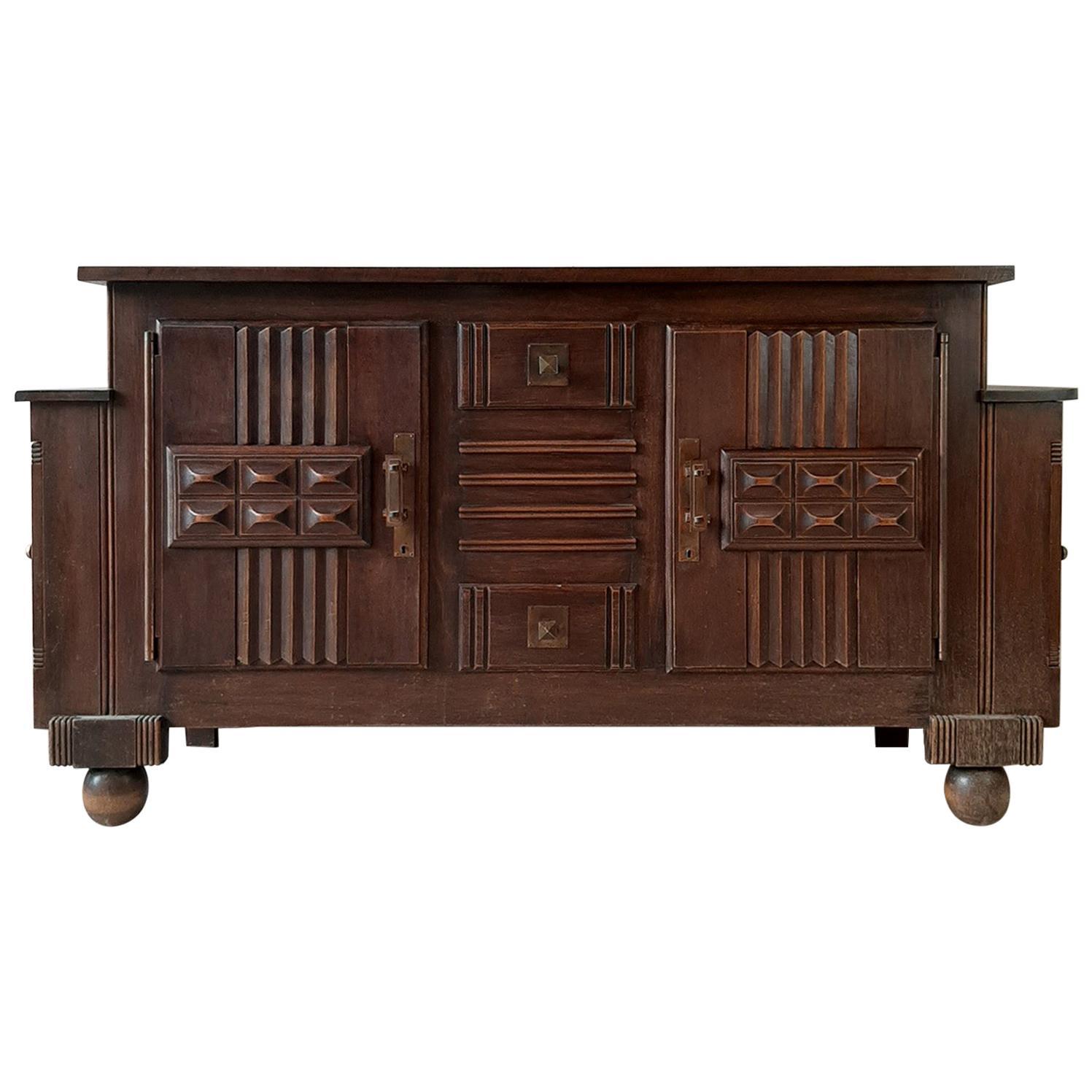 Brutalist style Brown Oak Sideboard, Credenza by Charles Dudouyt