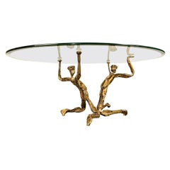 Brutalist Style Coffee Table Gilded Wrought Iron, Salvino Marsura, 1960s