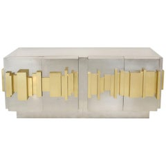 Brutalist Style Designed by L.A. Studio Brass and Steel Italian Sideboard