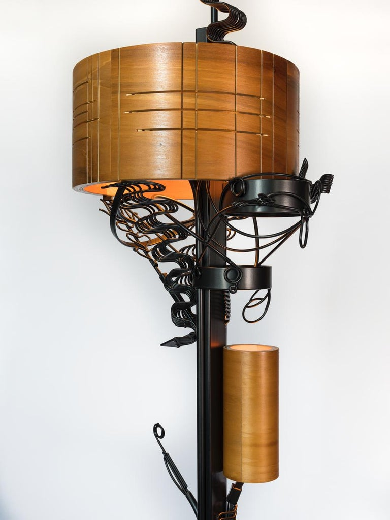 Unique handcrafted Brutalist style lamp by Aswoon / Susan Woods.