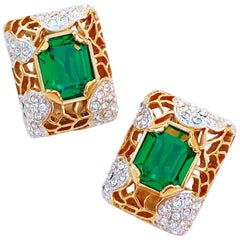 Brutalist Style Gilded Statement Earrings w Emerald Crystals By Carolee, 1980s