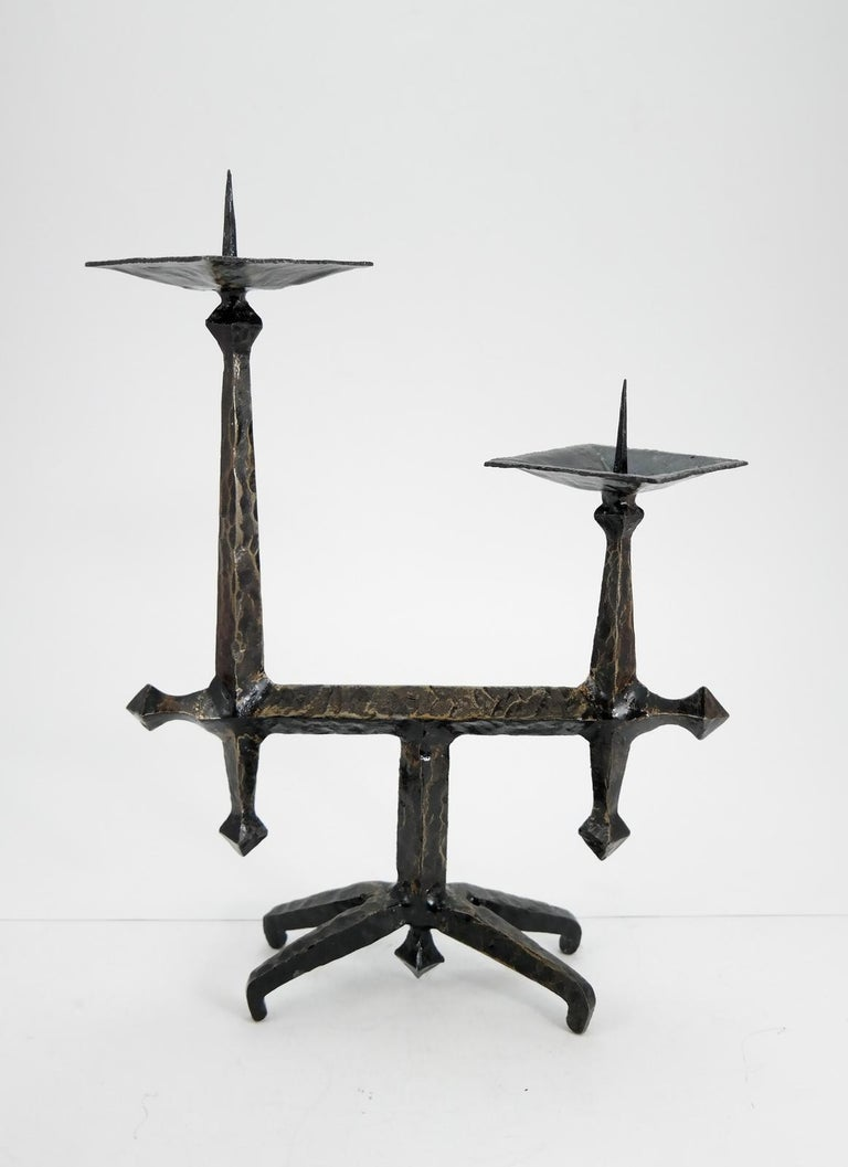 Brutalist style handcrafted wrought iron candleholder, 1960s.