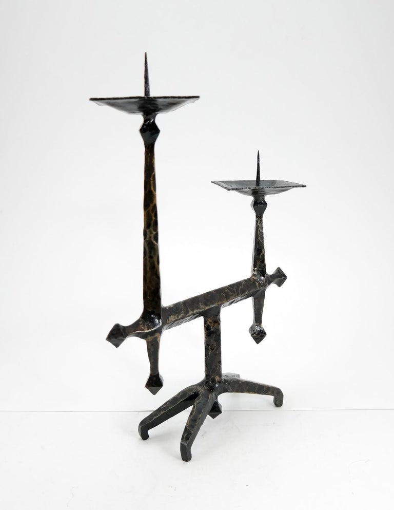 European Brutalist Style Handcrafted Wrought Iron Candleholder, 1960s