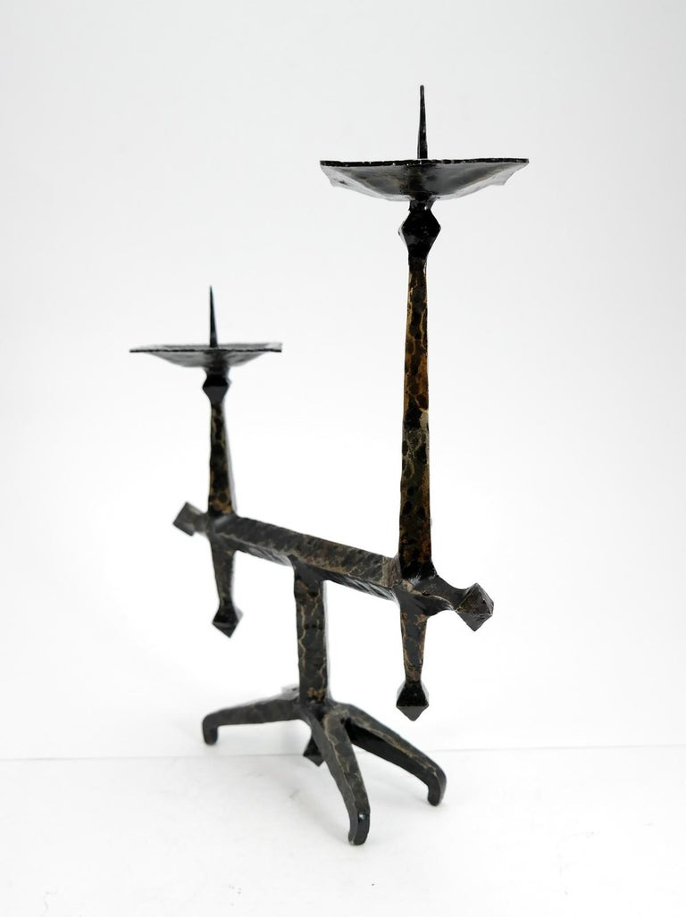 Brutalist Style Handcrafted Wrought Iron Candleholder, 1960s In Good Condition In Budapest, HU