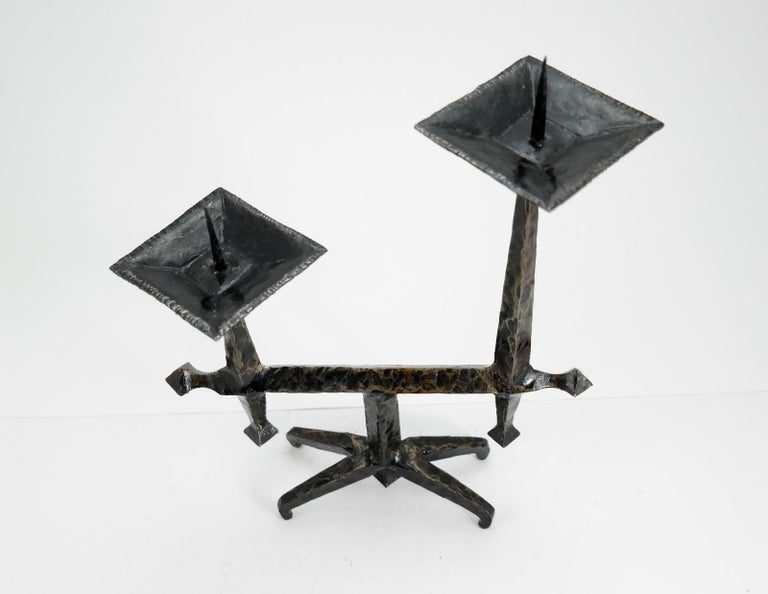 Brutalist Style Handcrafted Wrought Iron Candleholder, 1960s 1