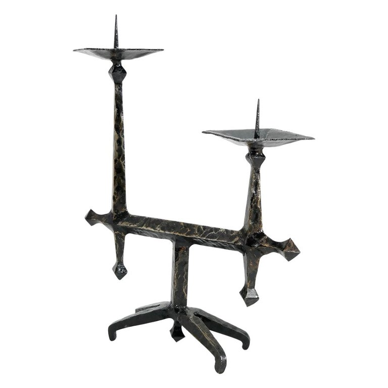 Brutalist Style Handcrafted Wrought Iron Candleholder, 1960s