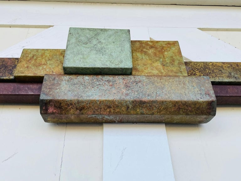Brutalist Style Long Brass Wall Sculpture For Sale 5