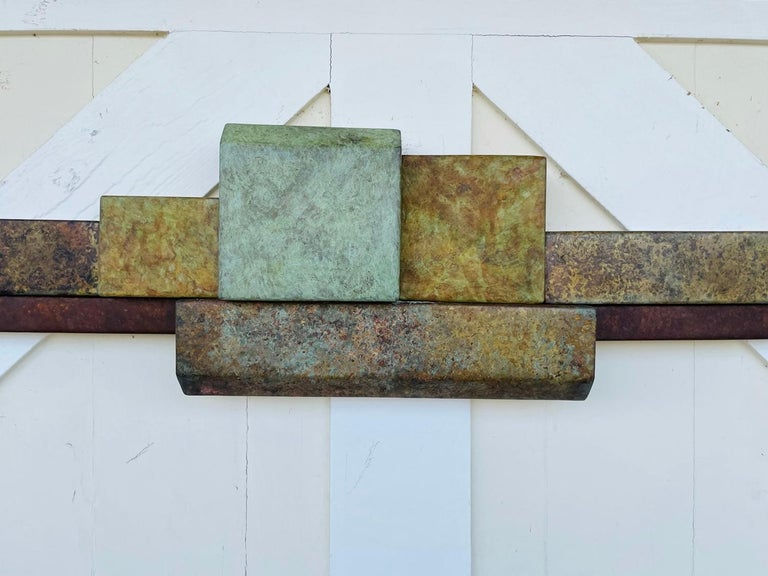 North American Brutalist Style Long Brass Wall Sculpture For Sale