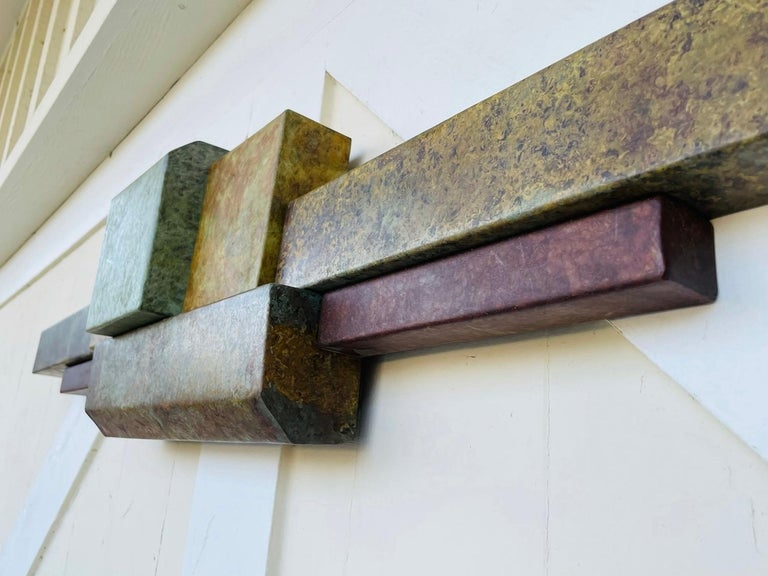 Late 20th Century Brutalist Style Long Brass Wall Sculpture For Sale