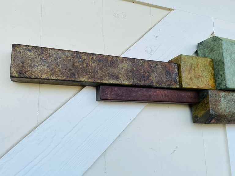 Brutalist Style Long Brass Wall Sculpture For Sale 1