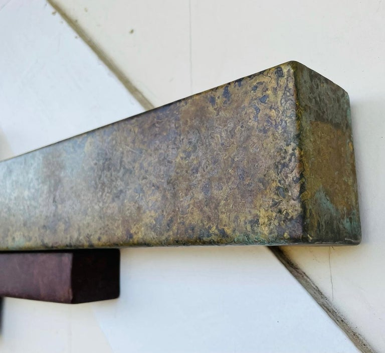 Brutalist Style Long Brass Wall Sculpture For Sale 2