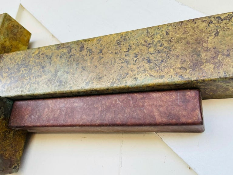 Brutalist Style Long Brass Wall Sculpture For Sale 3