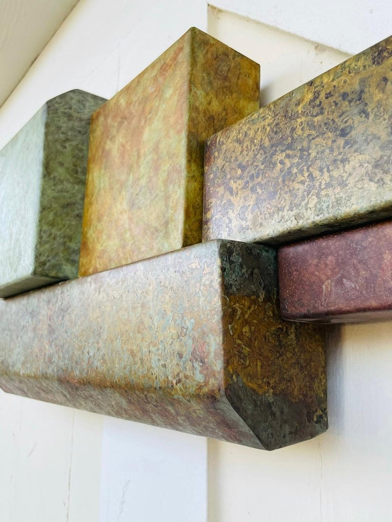 Brutalist Style Long Brass Wall Sculpture For Sale 4