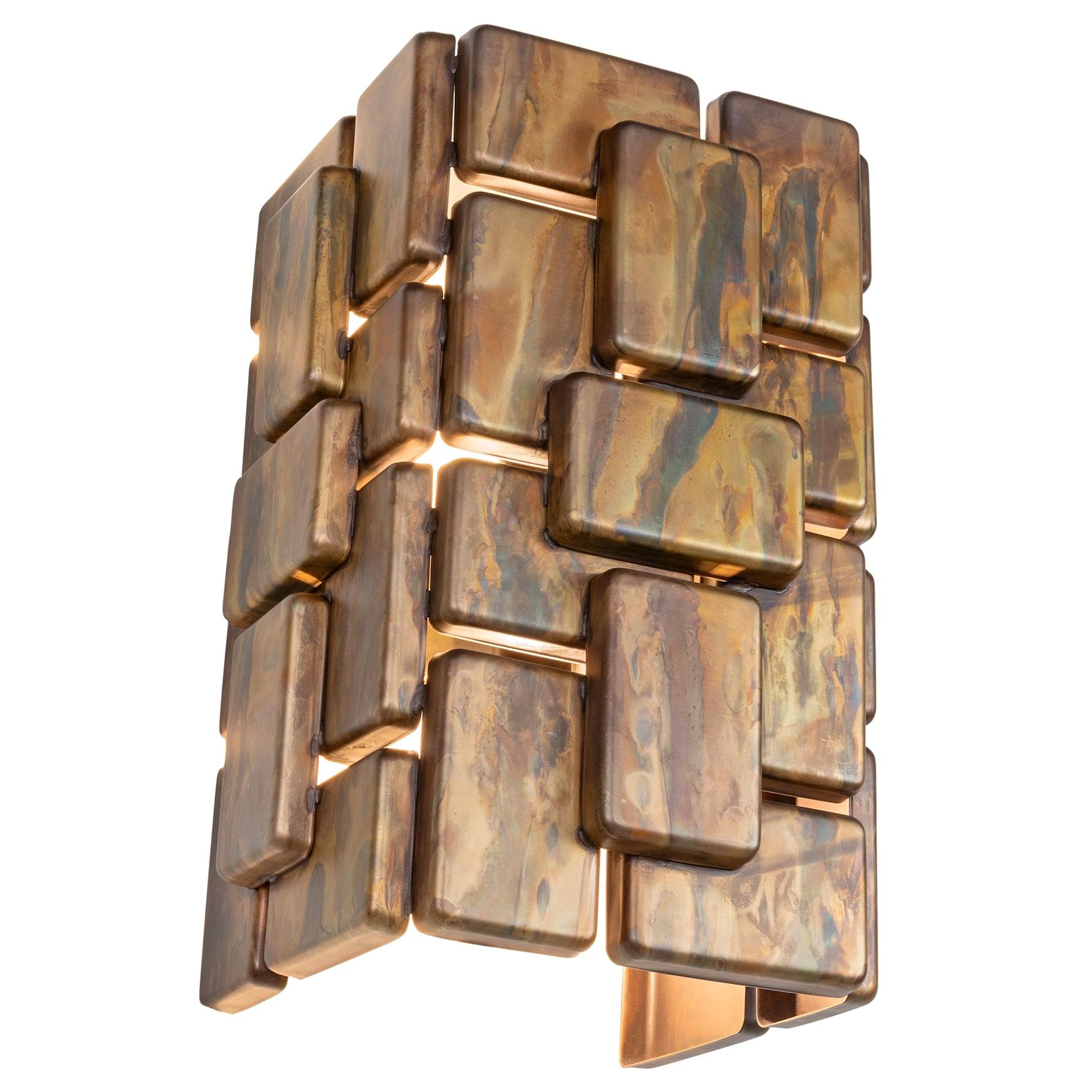 Brutalist Style Oxidized Finish and Brass Metal Wall Light