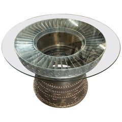 Brutalist Style Titanium Jet Turbine Sculptural Dining Table with Glass Top