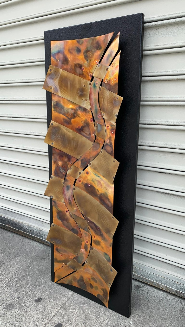 Modern Brutalist Style Wall Sculpture in Copper For Sale