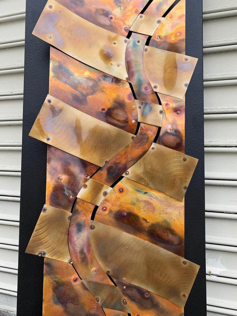 Metal Brutalist Style Wall Sculpture in Copper For Sale
