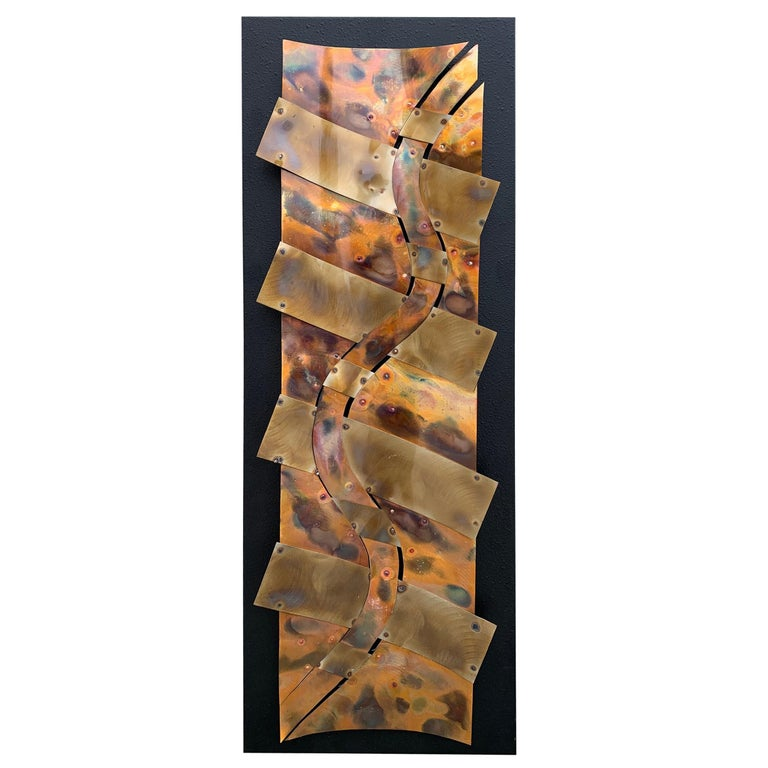 Brutalist Style Wall Sculpture in Copper For Sale
