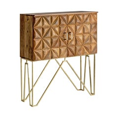 Brutalist Style Wood and Gilded Metal Cabinet