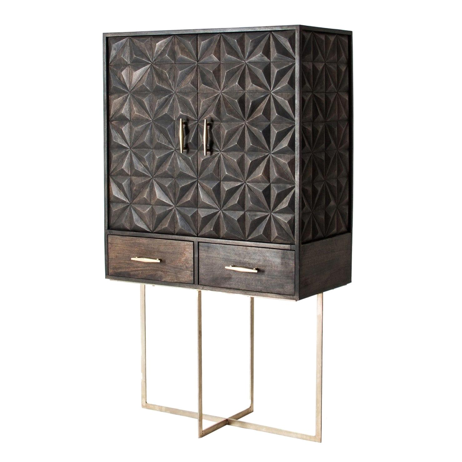 Brutalist Style Wooden and Gilded Metal Dry Bar Cabinet