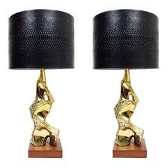 Brutalist Table Lamps a la Maurizio Tempestini by Richard Barr for Laurel