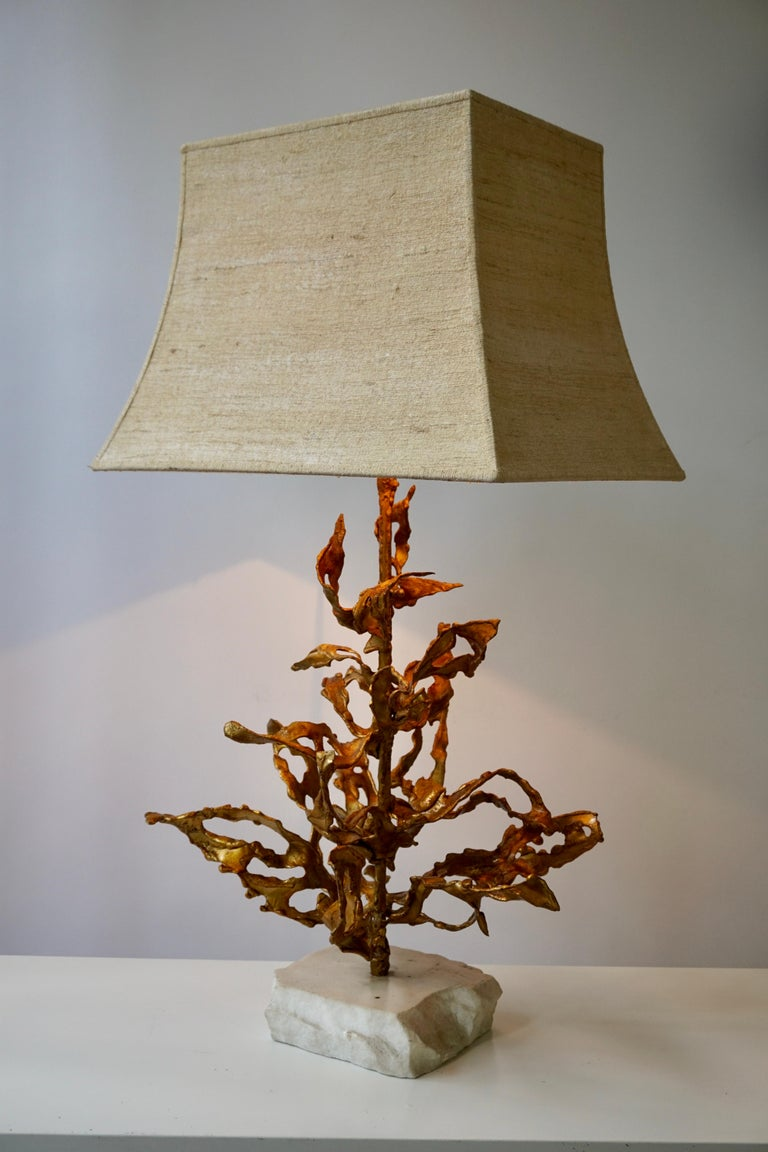 Brutalist Table Lamp in Brass Signed Paul Moerenhout, circa 1970 For Sale 6