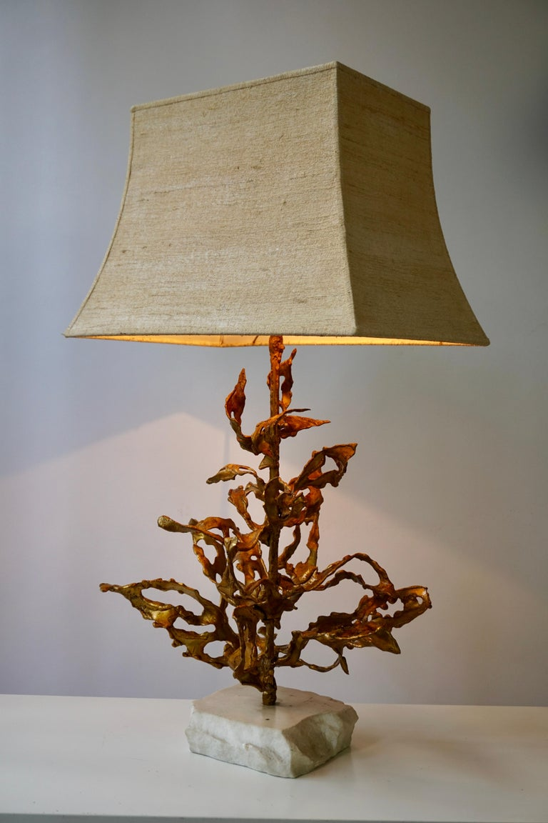 Brutalist Table Lamp in Brass Signed Paul Moerenhout, circa 1970 For Sale 7
